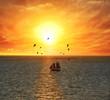 Sailing Boat At The Sunset