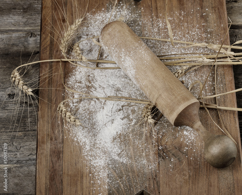 Wooden Rolling Pin, Flour And  Wheat