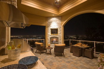Beautiful Outdoor Patio with View of City Lights