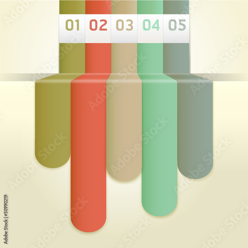 Retro Color Infographics Number Options Banner & Card. Vector