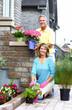 Gardening senior couple.