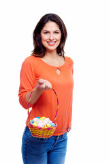Woman with Easter eggs.