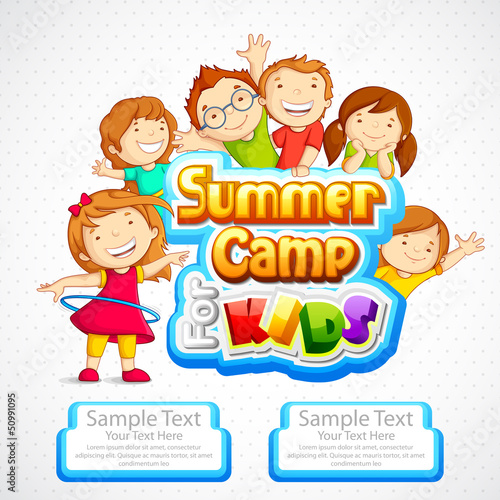 vector illustration of kids summer camp poster