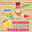 vector illustration of poster design for Summer English Workshop