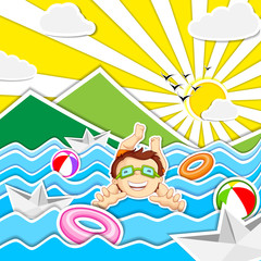 vector illustration of boy swimming in river