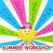 vector illustration of poster design for Summer Art Workshop