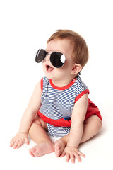 cute happy baby with sunglasses isolated