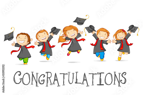 vector illustration of happy graduates with mortarboard