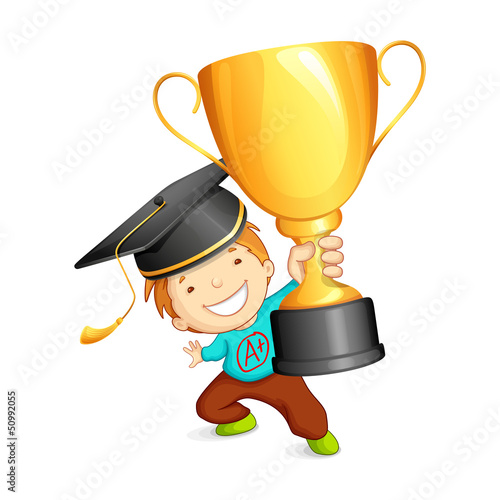 vector illustration of graduate holding gold trophy