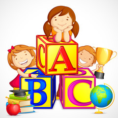 vector illustration of kids playing with alphabet block