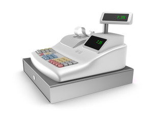 Cash register on white background
