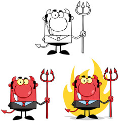 Devil Boss Cartoon Characters. Collection 3