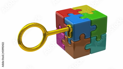 Golden key open colorful puzzle cube