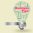 Light bulb with Business plan concept of word cloud