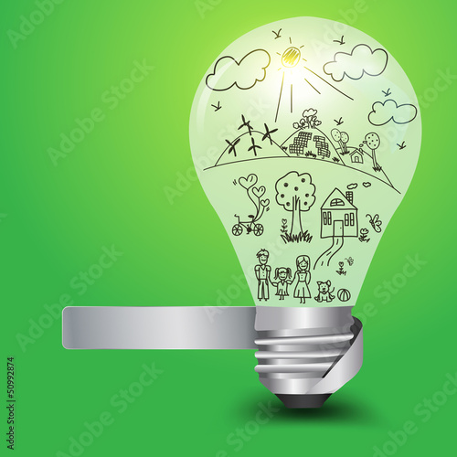 Light bulb with happy family and ecology concept
