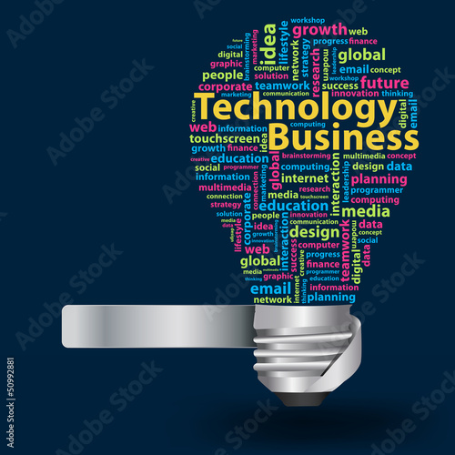 Light bulb with Technology business concept of word cloud