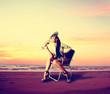 Leinwandbild Motiv Glamour girl on the beach