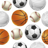 Sport Balls Set Seamless pattern. Vector illustration