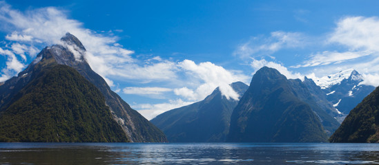 Milford Sound and Mitre Peak in Fjordland NP NZ