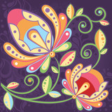 Ethnic floral seamless pattern with  hand-drawn flowers