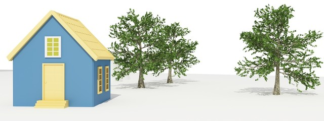 Small house with trees