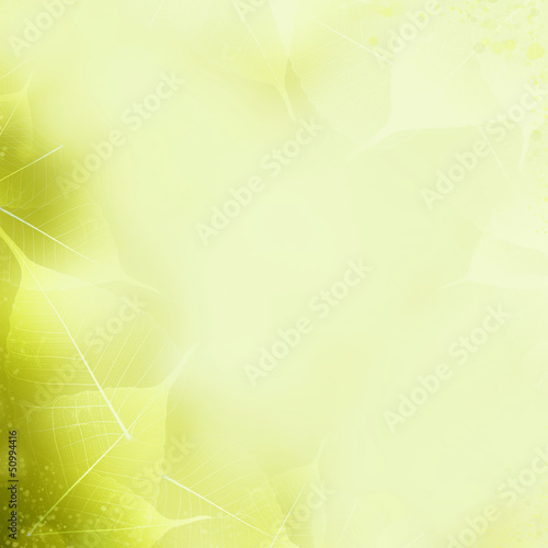Seamless Yellow - Green Leaves Pattern. Foliage Ornament