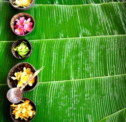 Tropical Asian flowers.on banana leaf background