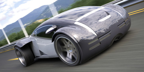 futuristic luxury sport sedan car 3d rendering
