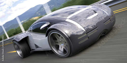 futuristic luxury sport sedan car 3d rendering