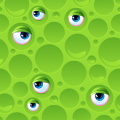 Abstract seamless pattern with bubbles and eyes.