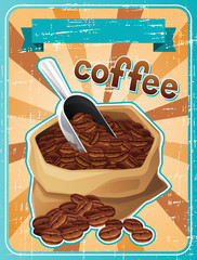 Poster with a bag of coffee beans in retro style.