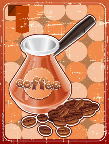 Poster with metal turk and coffee beans in retro style.