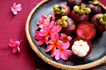 Mangosteen and pink plumeria