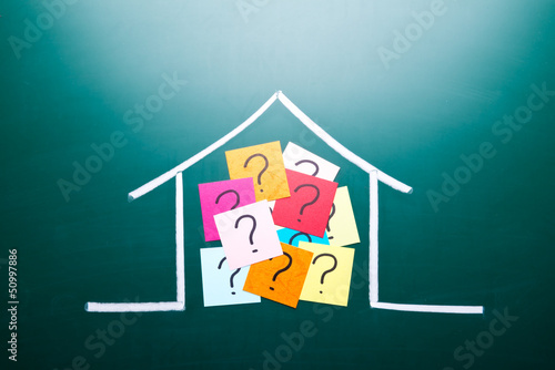 Color question mark in drawing house