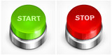 Button with words start and stop on white background, vector