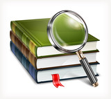 New books and magnifying glass on white background, vector