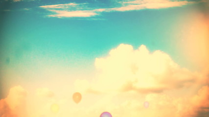 Consept Baloons on sky background with the word believe