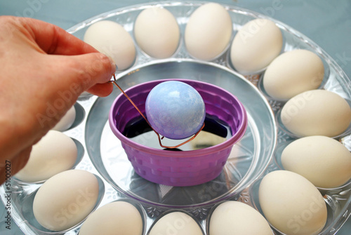 Dipping Eggs in Purple Dye