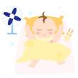 春夏向け 布団で眠る赤ちゃん お昼寝 女の子