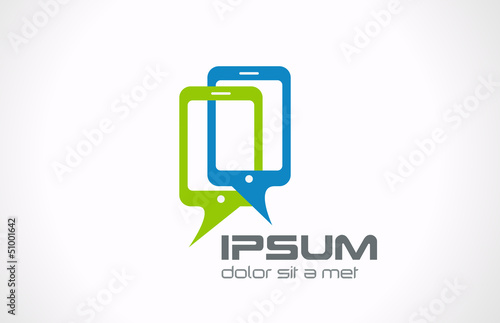 Talking mobile phones logo. Smartphone Connection icon