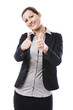 Business woman with thumbs up