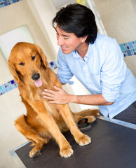 Man taking dog to the vet