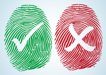 Right and Wrong - Tick and Cross on the thumbprint