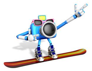 Blue Camera Character snowboard a riding. Create 3D Camera Robot