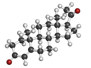 Progesterone female sex hormone, molecular model