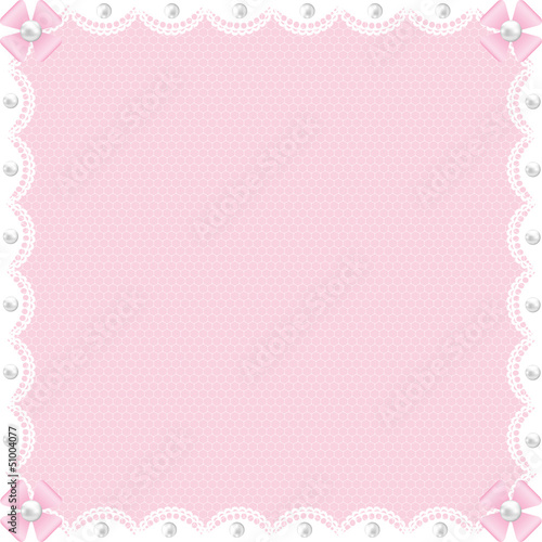 white lace background and pearls