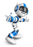 Blue robot character Pointing toward the front. Create 3D Humano
