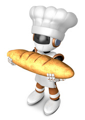Brown chef robot character holding large baguettes matches. Crea