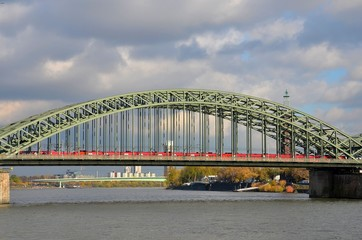 Train on bridge at Rhine Cologne