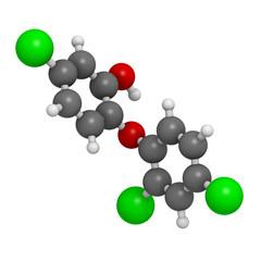 Triclosan antibacterial, molecular model.